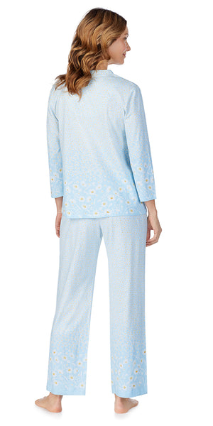 Blue Daisy Border Soft Jersey Long PJ Set