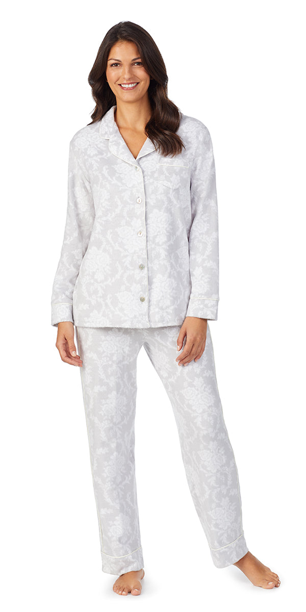 White & Grey Damask Fleece Long Sleeve & Long Pant Pj