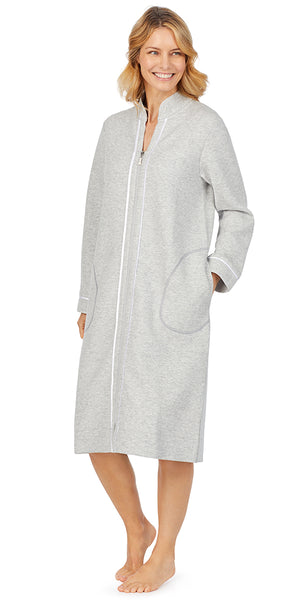 Heather Grey Diamond Quilt Long Sleeve Zip Front Waltz Robe