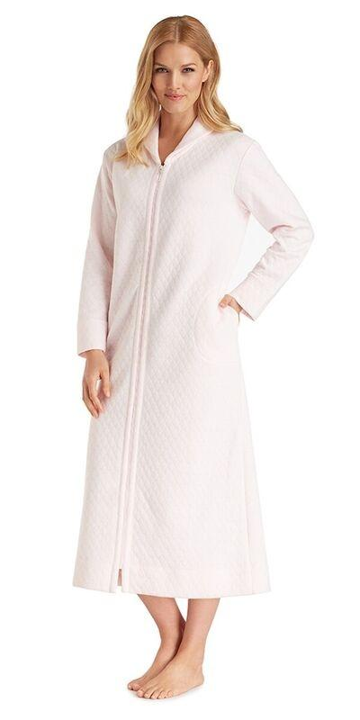 Plus Size Diamond Quilt Long Zip Robe - PinkIce