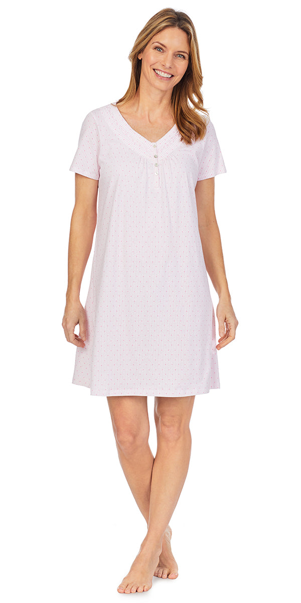Pink Dot & Stripe Soft Jersey Knits Short Nightshirt
