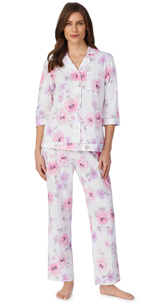 Romantic Blooms  3/4 Sleeve Classic Soft Jersey Notch Pajama