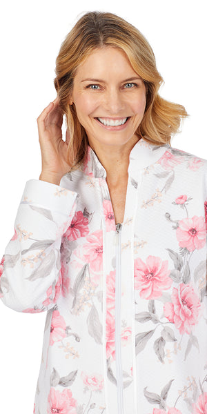 Pink Floral Diamond Quilt Long Sleeve Zip Front Waltz Robe