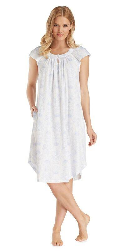 Plus Size Cotton Jersey Flutter Long Gown - Toile