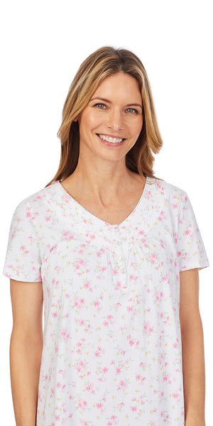 Pink & Yellow Floret Soft Jersey Knits Short Nightshirt