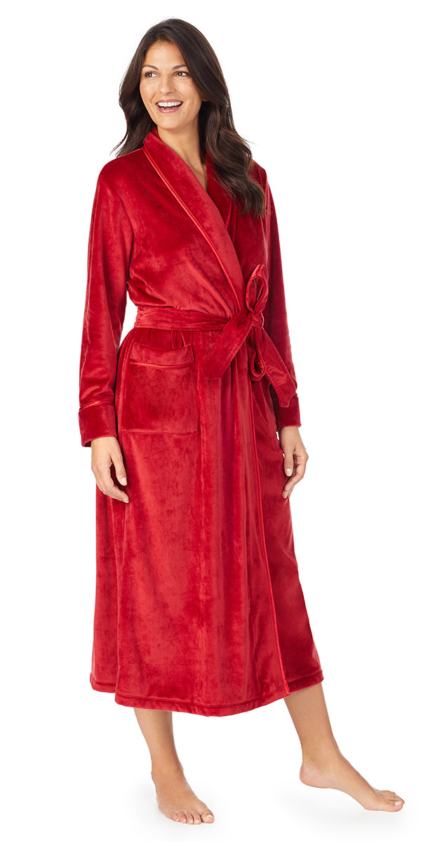Solid Red Plush Luxe Velour Long Wrap Robe