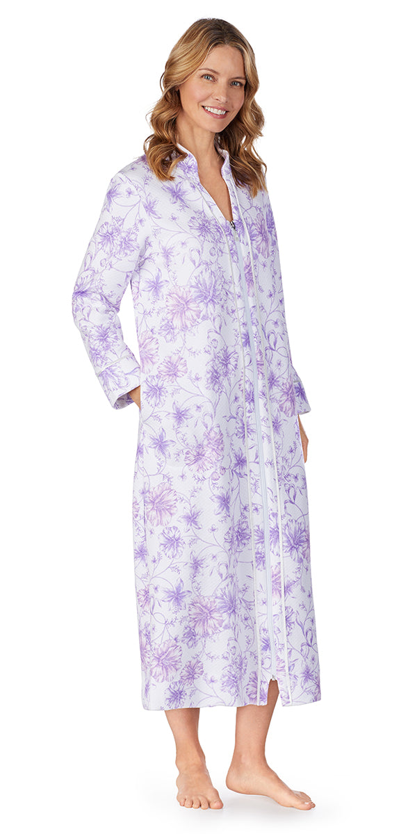 White Watercolor Floral Diamond Quilt Long Zip Robe