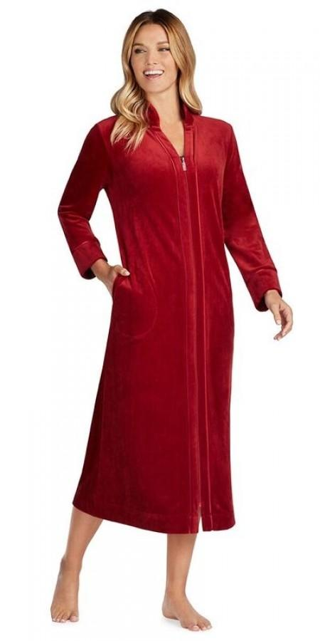 Plush Lux Velour Robe - Cranberry