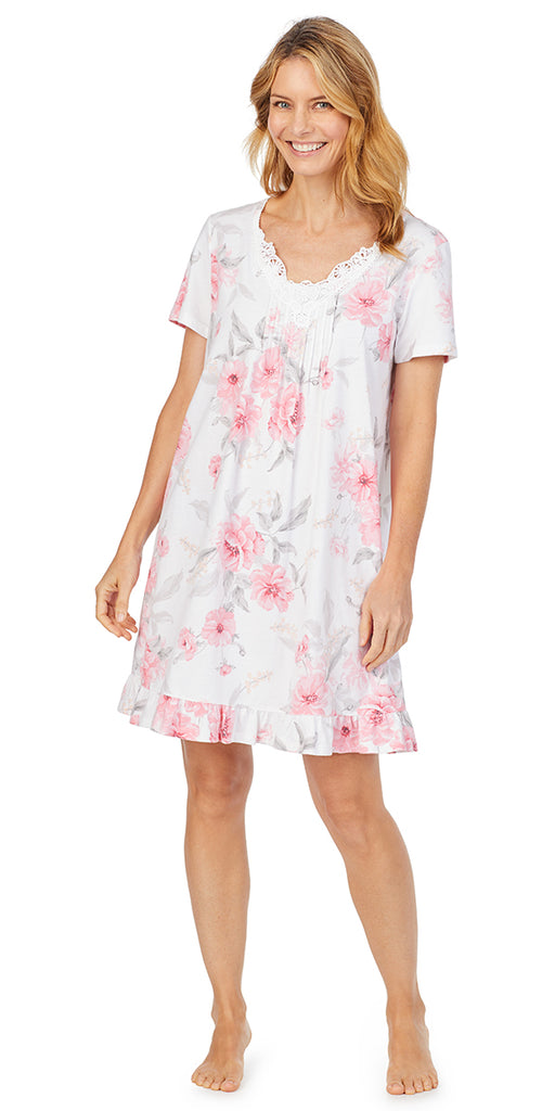 Pink Floral Soft Jersey Short Sleeve Short Gown