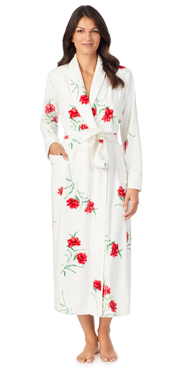 White & Red Floral Plush Luxe Velour Long Wrap Robe