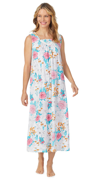 White Multi Floral Soft Jersey Sleeveless Long Gown