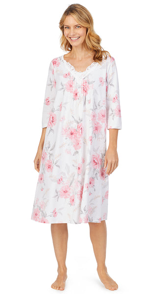 Pink Floral Soft Jersey 3/4 Sleeve Waltz Gown