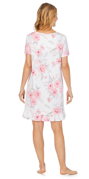 Pink Floral Soft Jersey Short Sleeve Short Gown - Plus