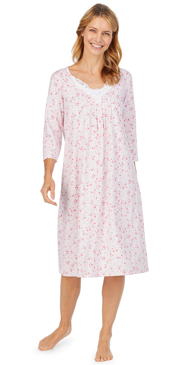 Pink Ditsy Soft Jersey 3/4 Sleeve Waltz Gown