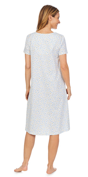 Blue & Yellow Floral Soft Jersey Knits Waltz Short Sleeve Nightgown