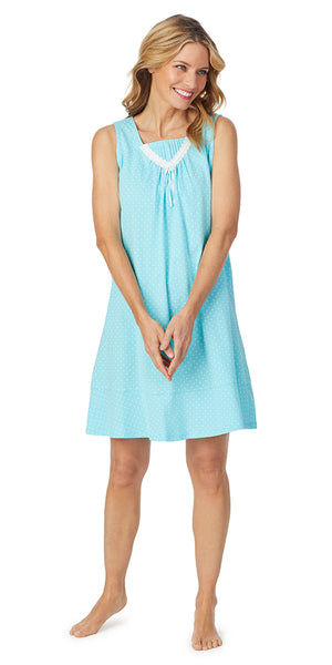Aqua Dot Soft Jersey Sleeveless Short Gown