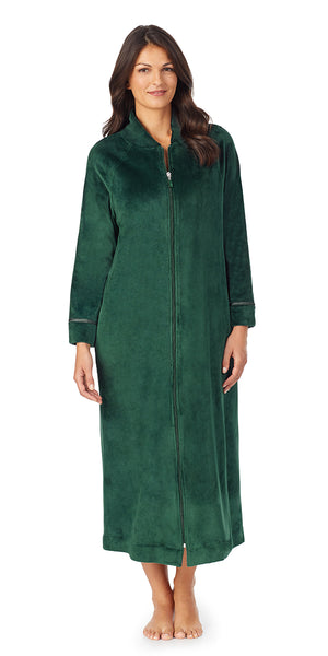 Solid Hunter Green Plush Luxe Velour Long Sleeve Zip Front Robe