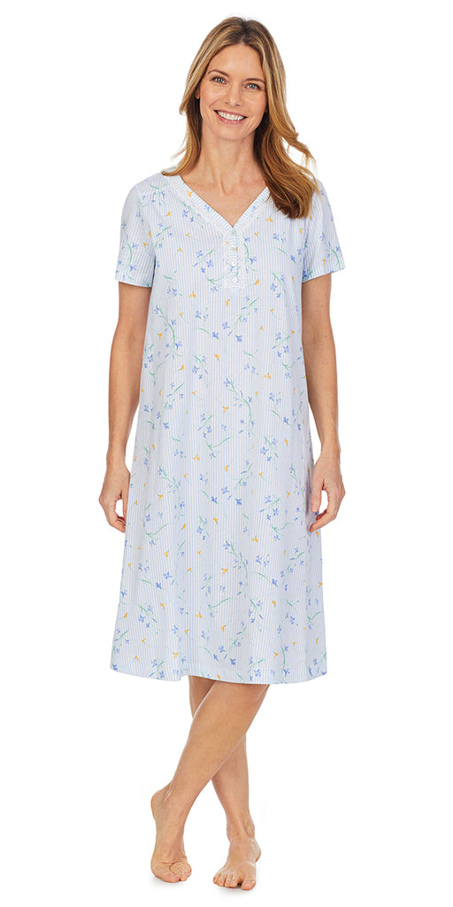 Floral Stripe Soft Jersey Knits Waltz Short Sleeve Nightgown