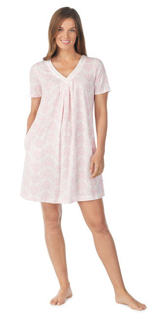 Pink Damask Brushed Interlock Short Sleeve Chemise