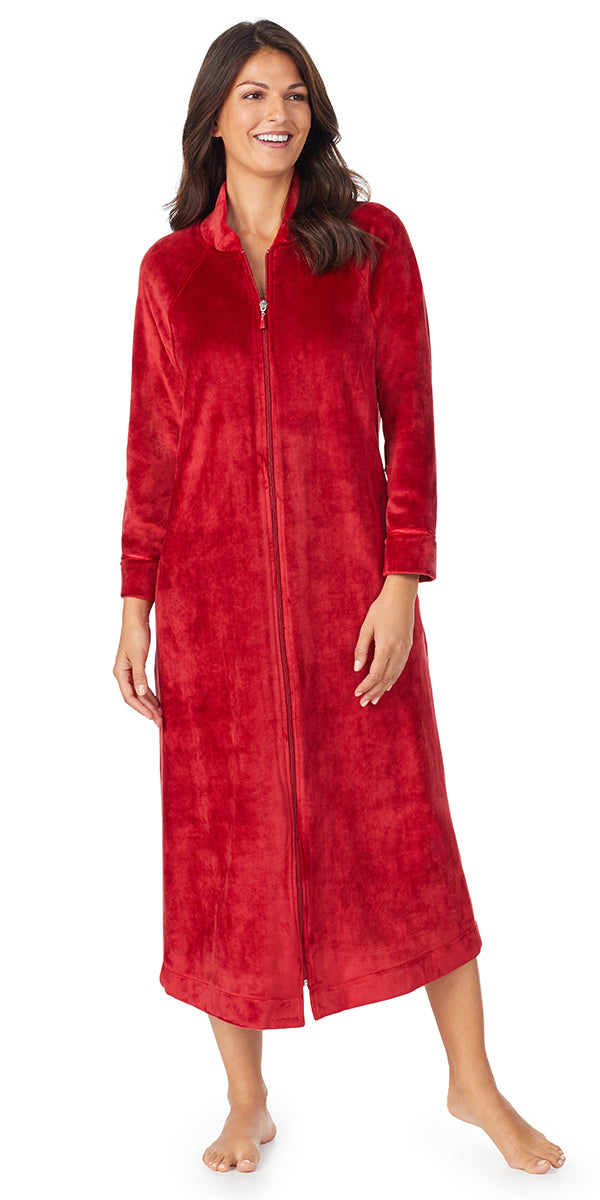 Solid Red Plush Luxe Velour Long Sleeve Zip Front Robe
