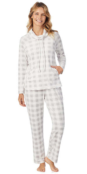 Grey Check Luxe Cozy Fleece Lounge PJ