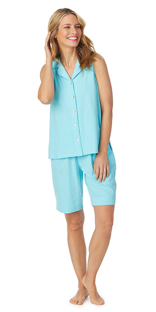 Aqua Dot Soft Jersey Sleeveless Bermuda PJ