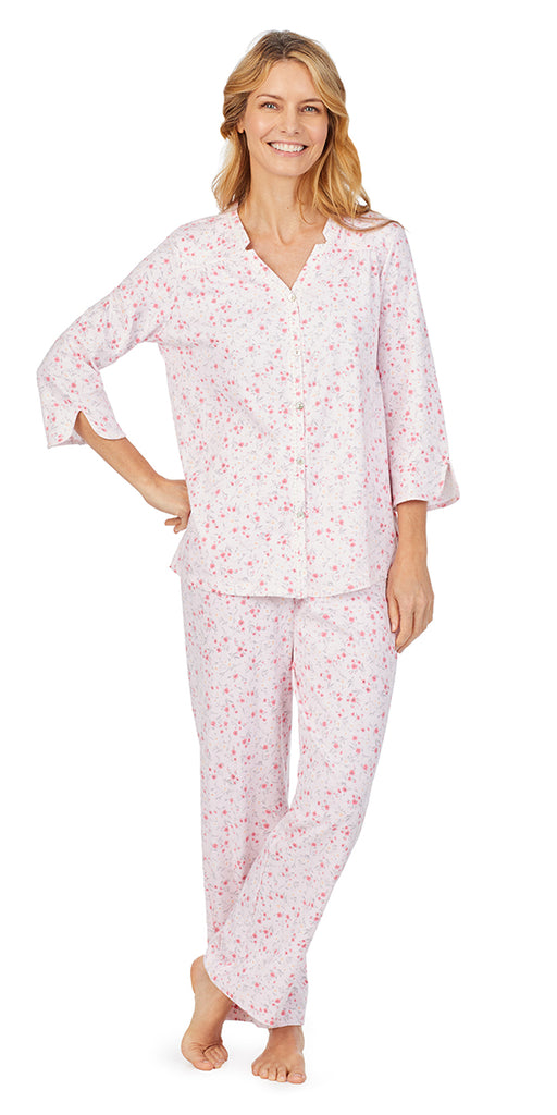 Pink Ditsy Soft Jersey 3/4 Sleeve Long Pj Set