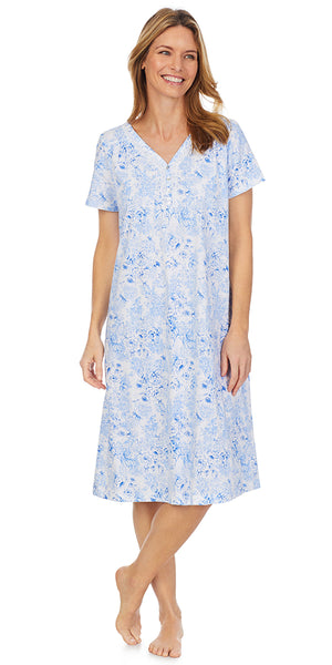 Blue Roses Soft Jersey Knits Waltz Short Sleeve Nightgown