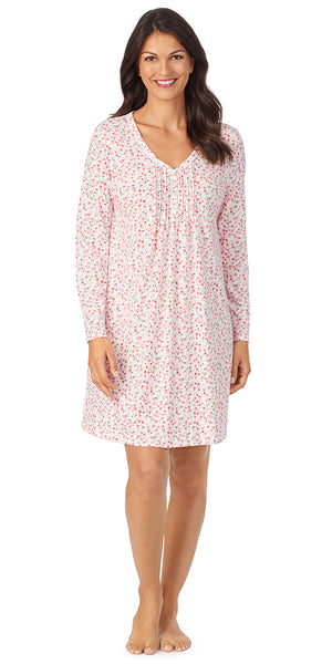 Ivory & Red Ditsy Soft Jersey Long Sleeve Sleepshirt