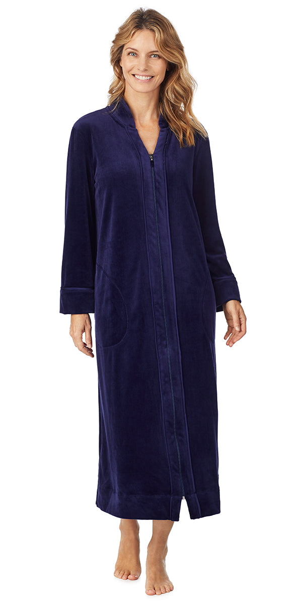 Navy Plush Luxe Velour Long Zip Robe