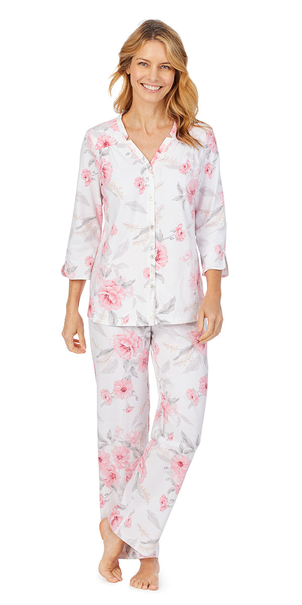 Pink Floral Soft Jersey 3/4 Sleeve Long Pj Set