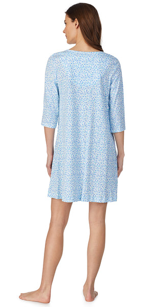 Aqua Multi Ditsy Floral Soft Jersey Knits Nightshirt