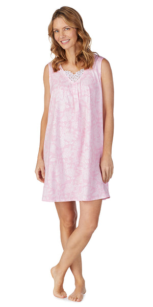 Pink Damask Soft Jersey Short Gown Plus Size