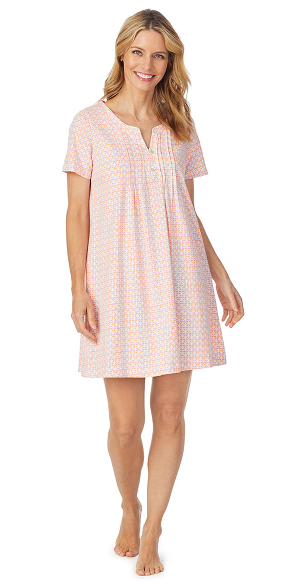 Pink Ditsy Soft Jersey Short Sleeve Sleep Shirt