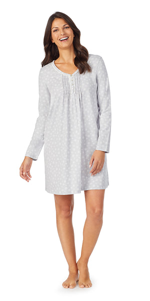 Grey Snowflake Soft Jersey Long Sleeve Sleepshirt