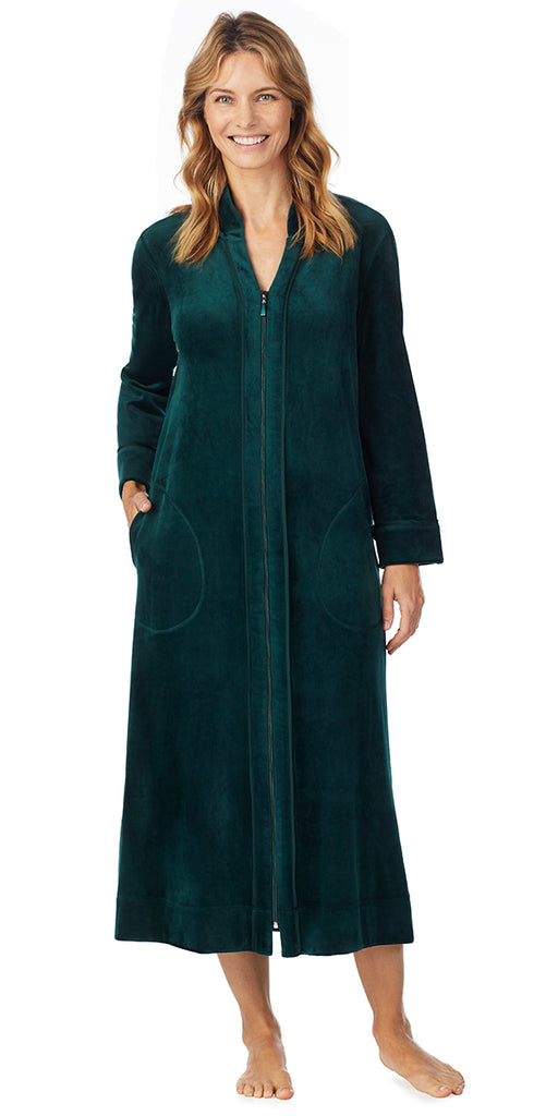 Hunter Green Plush Luxe Velour Long Zip Robe