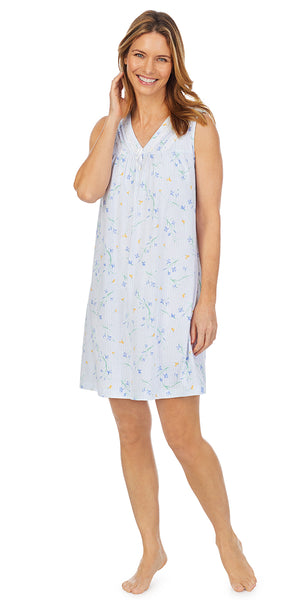 Floral Stripe Soft Jersey Knits Short Sleeveless  Nightgown