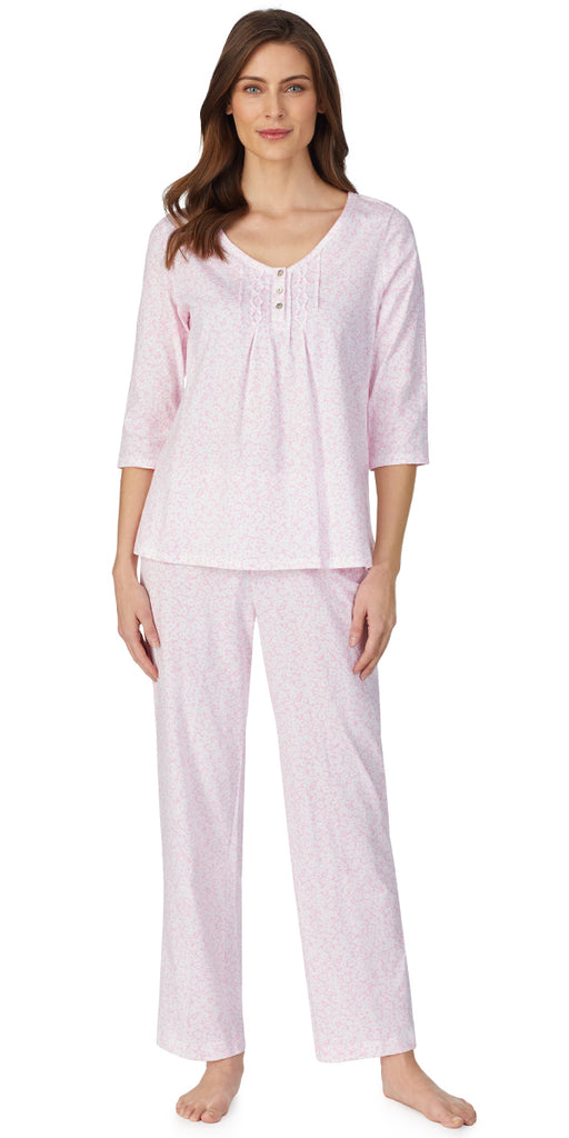 Pink White Floral Soft Jersey Knits Long Pj