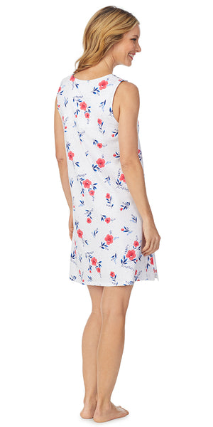 Red Floral Luxe Jersey Sleeveless Short Gown