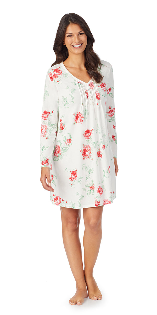 Red Rose Soft Jersey Long Sleeve Sleepshirt