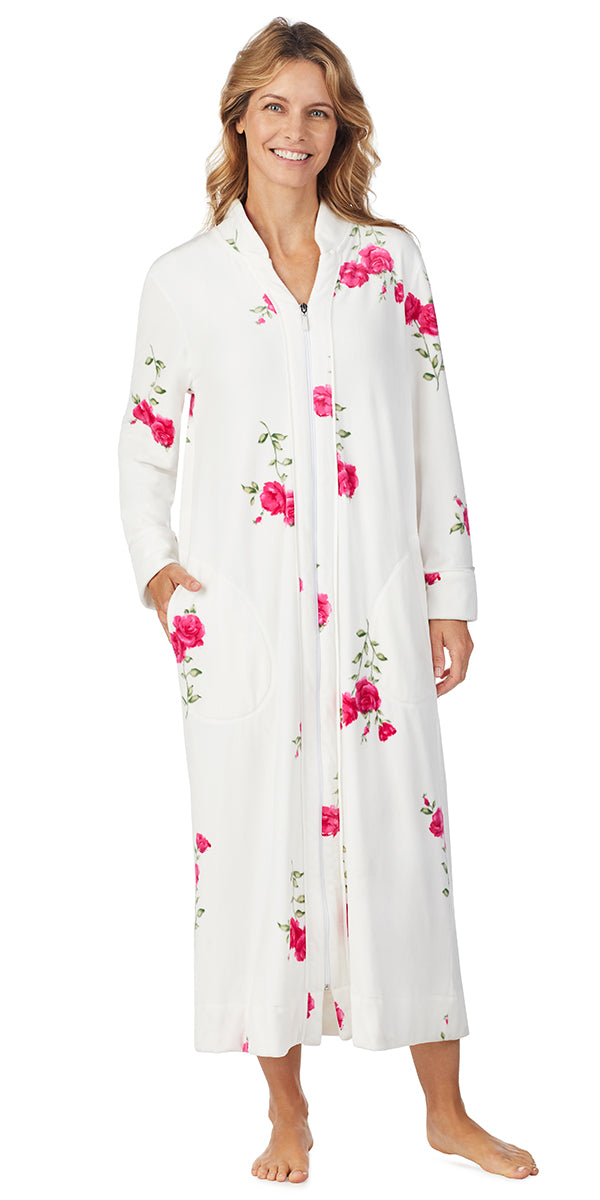 Roses Plush Luxe Velour Long Zip Robe