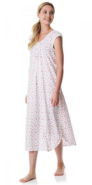 Heritage Long Nightgown - Tropic Ditsy White