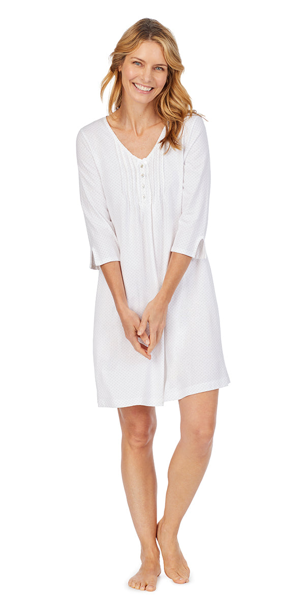 White Dot Soft Jersey 3/4 Sleeve Sleepshirt