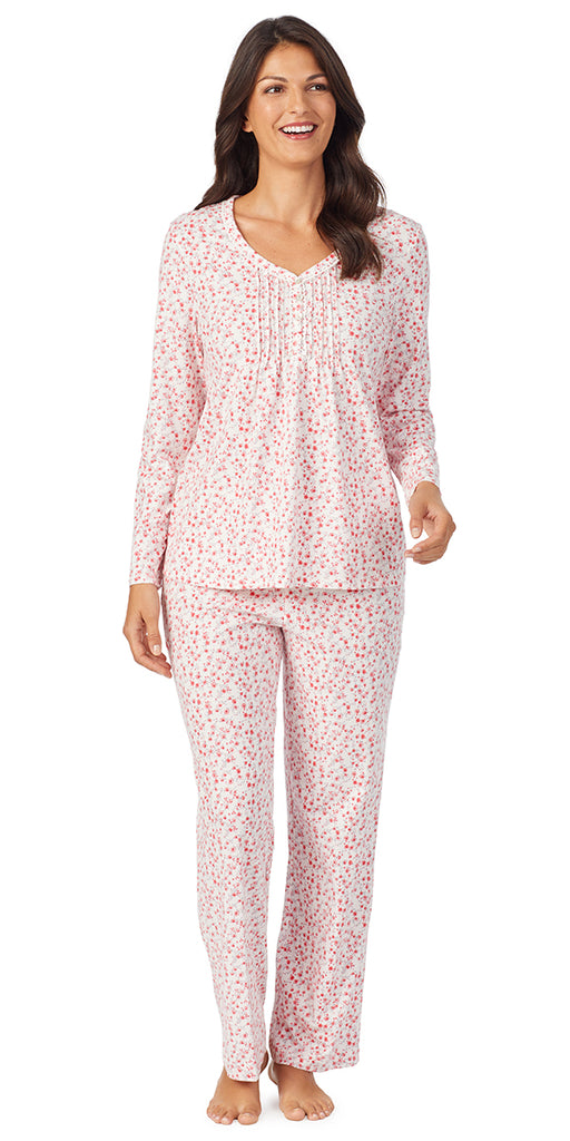Ivory & Red Ditsy Soft Jersey Long Sleeve & Long Pant Pj