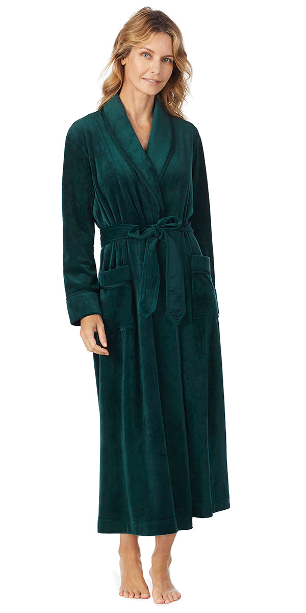 Hunter Green Plush Luxe Velour Long Wrap Robe 6b9b847506