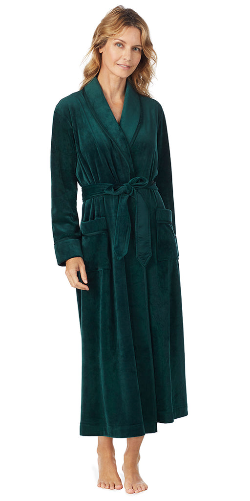 Hunter Green Plush Luxe Velour Long Wrap Robe