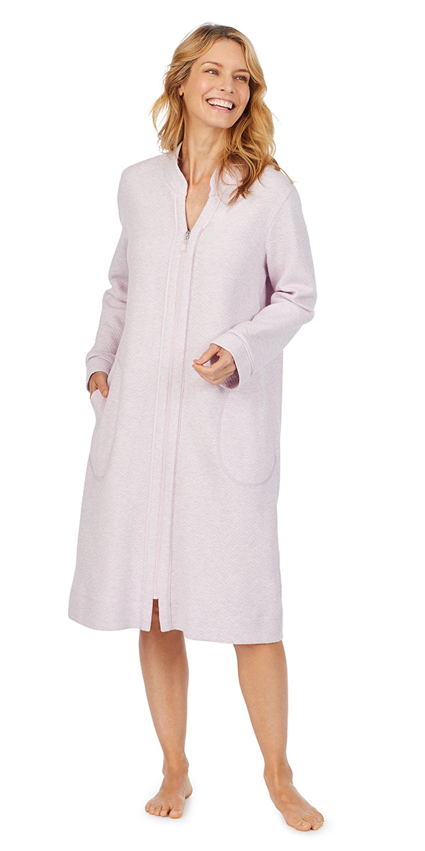 Lilac Heather Diamond Quilt Long Sleeve Zip Front Waltz Robe