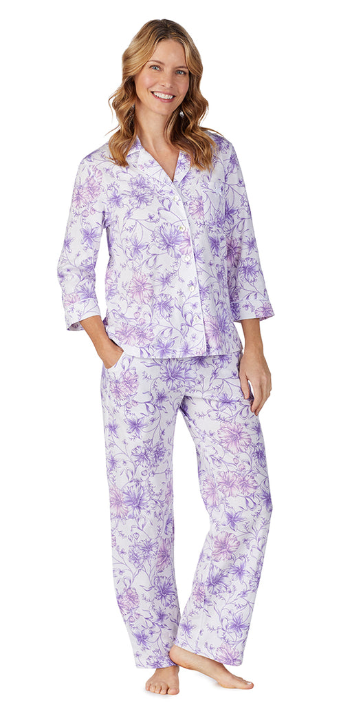 White Watercolor Floral Soft Jersey Long PJ