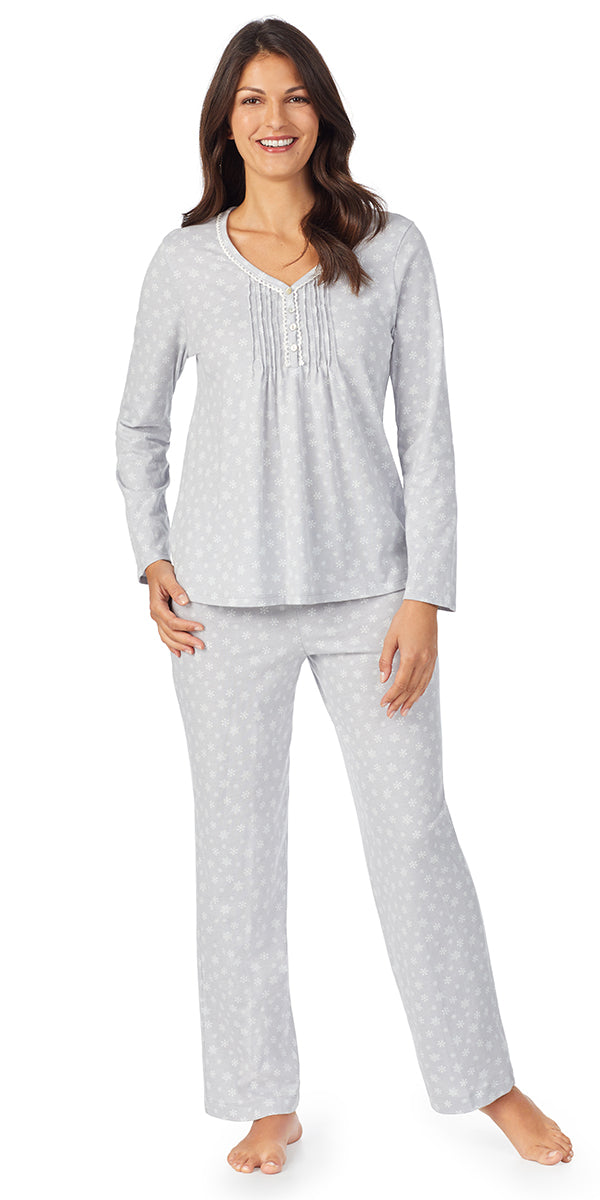 Grey Snowflake Soft Jersey Long Sleeve & Long Pant Pj