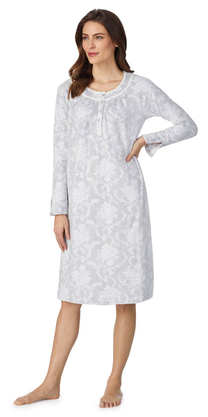 White & Grey Damask Soft Jersey Long Sleeve Waltz Gown